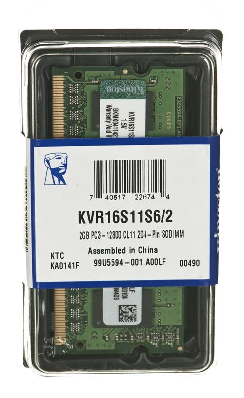 KINGSTON 2GB 1600MHZ DDR3 CL11 1.5v RAM  Notebook