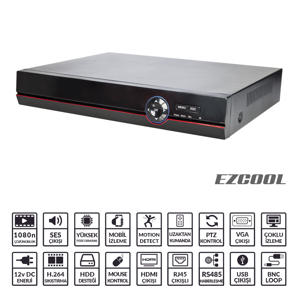 EZCOOL EZ-3108AHD 8KANAL 4SES 1HDD V-O