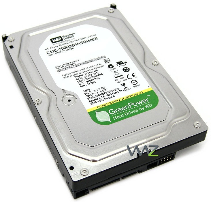 WD 3.5 1TB 64MB SATA3 PC HDD WD10EURX (7/24 AV - GP