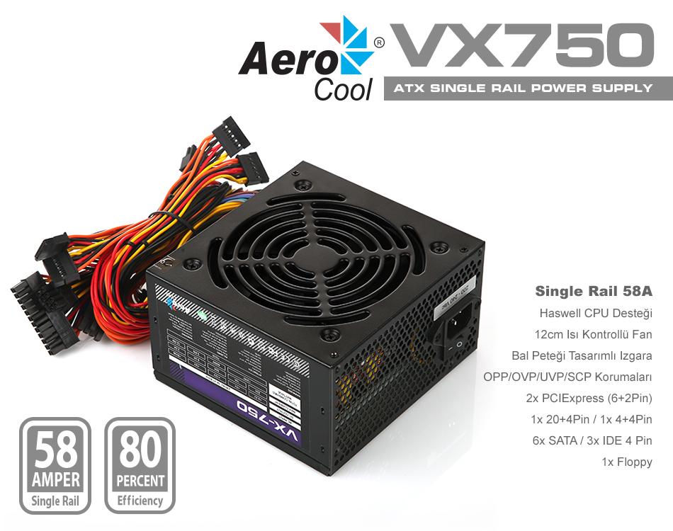 AEROCOOL VX Serisi 750w Güç Kaynağı (AE-VX750) POWER  SUPPLY