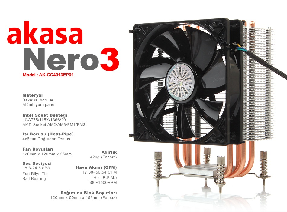 AKASA Nero 3 (AK-CC4013EP01), Intel / AMD, İşlemci Soğutucu