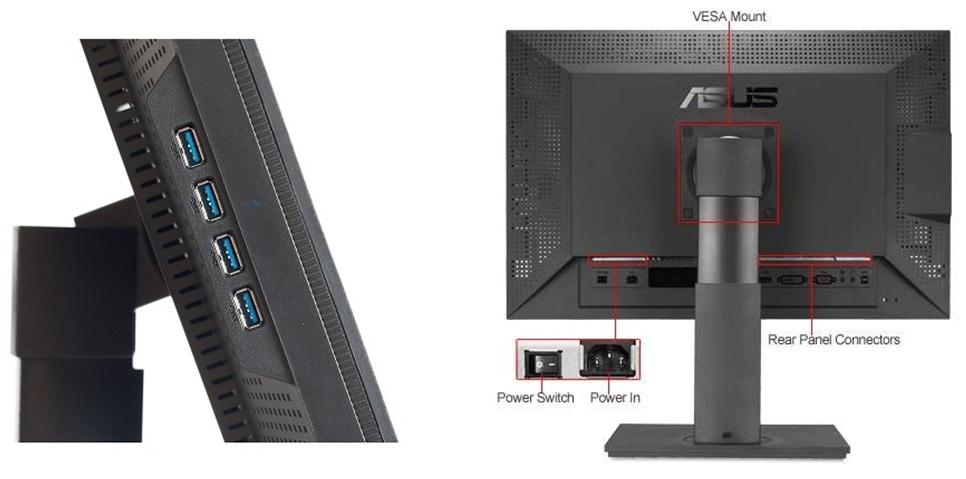 ASUS 24.1 Pa248Q Ips Led Monitör Siyah 6Ms duvara montelenme özelliği: var