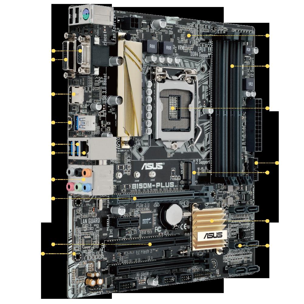 ASUS B150-PLUS DDR4 2133MHz S+V+GL 4x DDR4 VGA-DVI 1151P