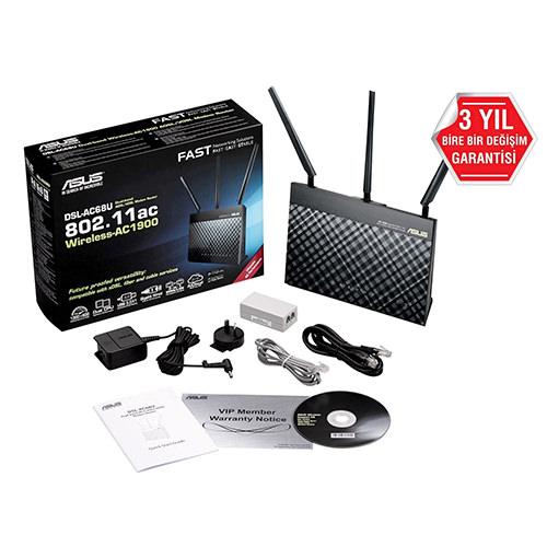 ASUS DSL-AC68U Çift Bant Kablosuz-AC1900 Gigabit ADSL/VDSL MODEM