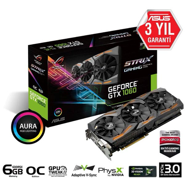 ASUS GeForce GTX1060 Strix 6GB GDDR5 Ekran Kartı