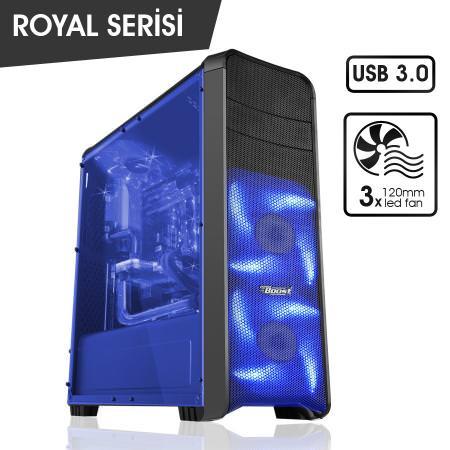 BOOST Royal Serisi VK-G1008S 3x12 cm Mavi Led Fanlı ATX KASA