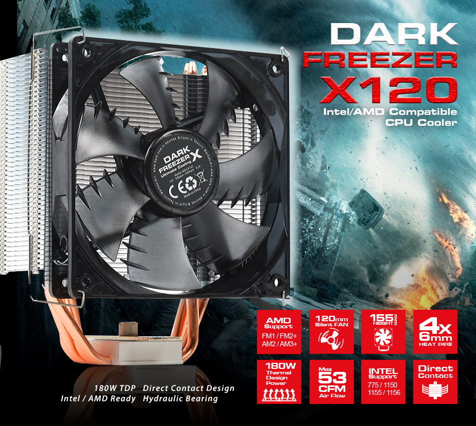 DARK Freezer X120 AM4 Ryzen / Intel 775/1155/1156/1150/1151 AM4