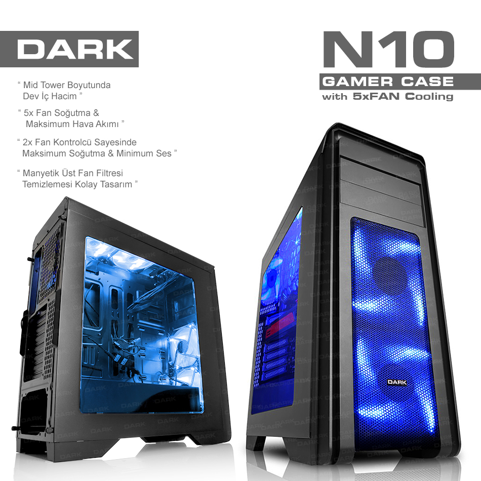 DARK N10 DKCHN10 (Powersız) Atx Gaming Kasa Siyah USB3.0,5x12cmFan,Fan Kontr.
