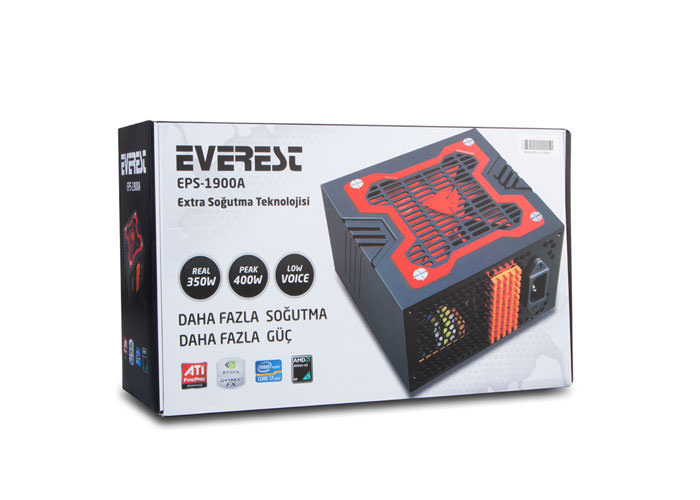 EVEREST Eps-1900A Peak-400W Extra Soğutu 12Cm Kırmızı Fan POWER SUPPLY