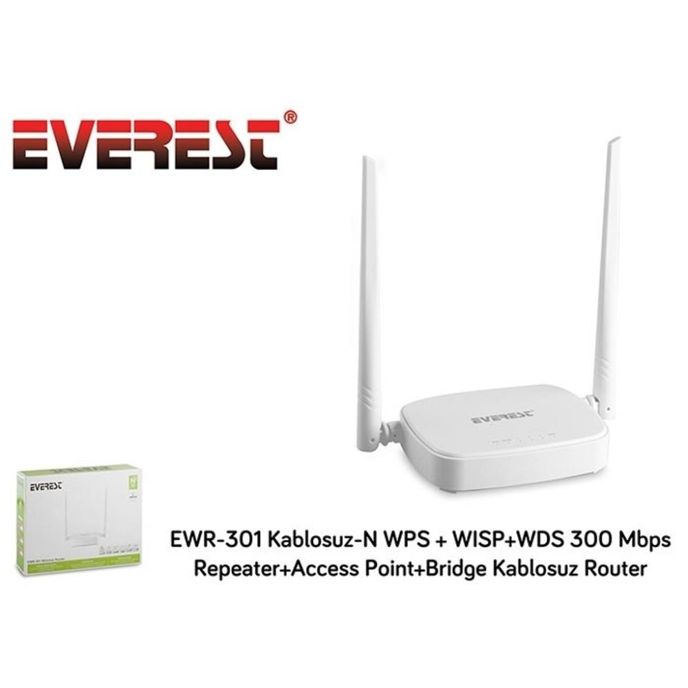 EVEREST Ewr-301 Kablosuz-N Wps + Wısp+Wds 300 Mbps