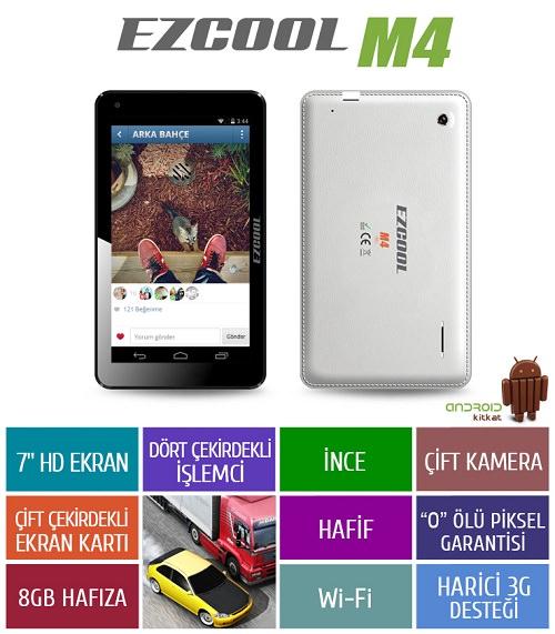 "EZCOOL M4 8GB 7"" Beyaz Tablet"