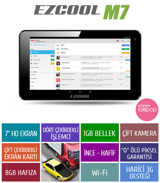 "EZCOOL M7 1 GB 8GB QUAD CORE 7"" HD Siyah Tablet Pc"