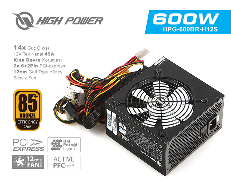 HIGH POWER 600W 85+ Bronze 45A Single Rail Aktif PFC Siyah (HPG-600)BR-H12S