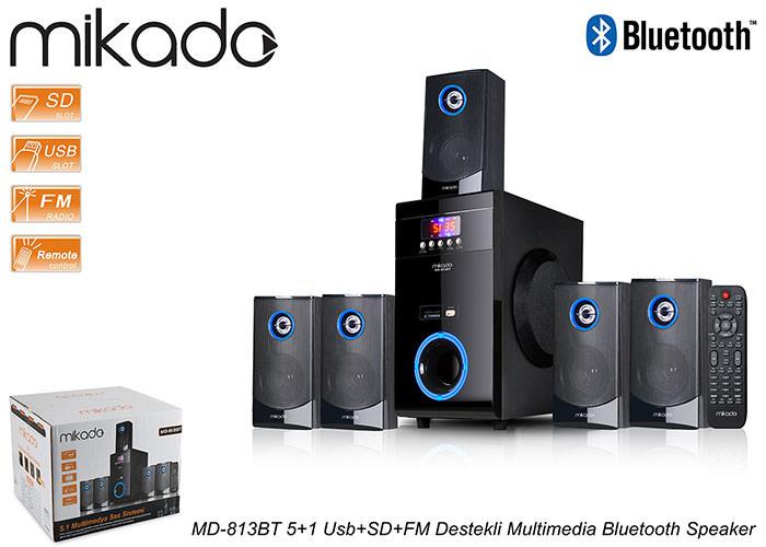 Mikado MD-813BT 5+1 Usb+SD+FM Destekli Multimedia Bluetooth Speaker