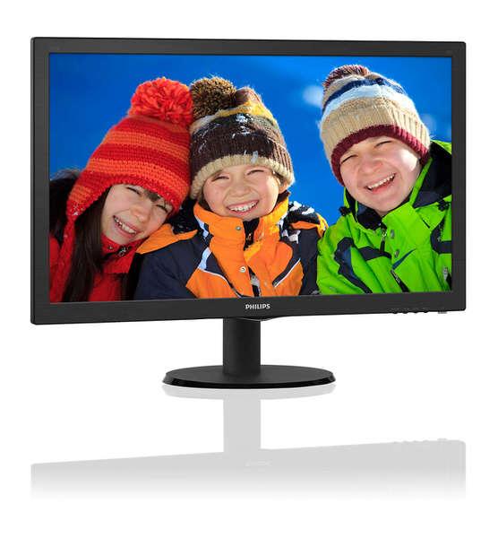 "PHILIPS 23.5"" 243V5QHABA-01 LED, 1920x1080, 8ms, VGA-DVI-HDMI, 2,0W x 2 hoparlörlü Siyah Mon"