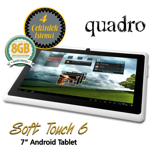 """QUADRO SoftTouch 9 A33 1.33ghz 1G 8GB Wi-Fi & Bluetooth Android 9"""" Dual Cam Beyaz Tablet Pc"""