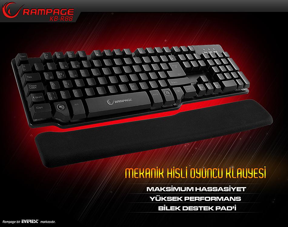 REST Rampage KB-R88 Siyah USB Mekanik Hisli ve Pad Gaming Q Klavye