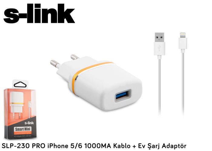 S-link SLP-230 PRO 1000MA iPhone 5/6 Kablo + Ev Şa
