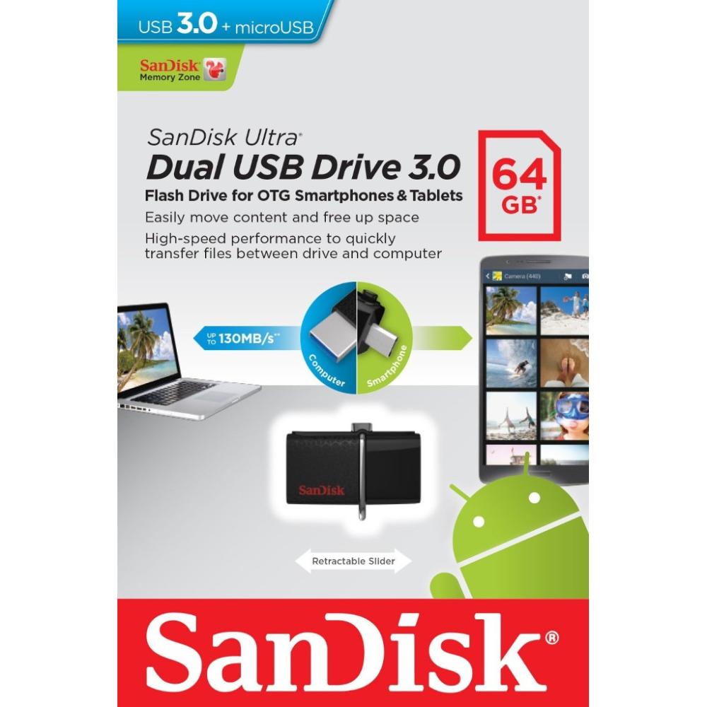 SANDISK Dual Drive 64GB USB 3.0 USB Bellek SDDD2-064G-G46