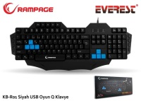 EVEREST Rampage KB-R01 Siyah USB Makrolu Gaming Q Multimedia Klavye