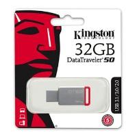 KINGSTON MEMORY  DT50/32G  32GB METAL KIRMIZI USB3.1 USB BELLEK