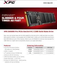 ADATA 256gb 2280 XPG SX6000 Pro ASX6000PNP-256GT-C 2100MB/s 1200MB/s NVMe M.2  PCIe Gen3x4 3D Nand Flash