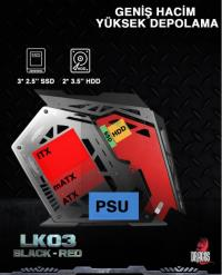 Dragos LK03 ARGB Black & Red 600W 80+   peak 750W  Rainbow Power Supply USB 3.0 Gaming Oyuncu Bilgisayar Kasası