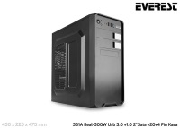 EVEREST 381A Peak-300W Usb 3.0+1.0 2*Sata+20+4 Pin Kasa