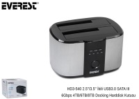 Everest HD3-540 2.5''/3.5'' İkili USB3.0 SATA III 6Gbps 4TB/6TB/8TB Docking Harddisk Kutusu