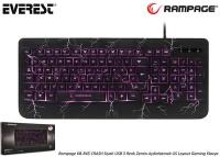Everest Rampage KB-R45 CRASH Siyah USB 3 Renk Zemin Aydınlatmalı Q Gaming Klavye