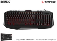 Everest Rampage KB-RX7 ALPOR Gri USB 3 Renk Aydınlatmalı Q Gaming Klavye