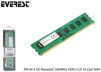 EVEREST RM-44 4 Gb Masaüstü 1600Mhz DDR3 CL11 16 Çipli RAM