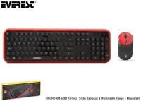 Everest ROUND KM-6282 Kırmızı/Siyah Kablosuz Q Multimedia Klavye + Mouse Set