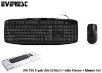 Everest UN-796 Siyah Usb Q Multimedia Klavye + Mouse Set