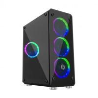 Frisby Cyber FC-9265G Mid Tower Kasa Siyah 1xUSB3.0+2xUSB2.0 / 4 x 120mm Fan ((3 Renk Fan) PSU YOK