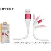 Hytech HY-X330 1.2M 3A Lightning Kırmızı/Beyaz DATA IOS IPHONE Şarj Kablosu