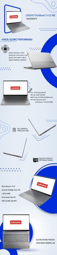 LENOVO ThinkBook 15 G2 ARE AMD RYZEN R7-4700U 8GB 256GB 15.6  20VG006WTX