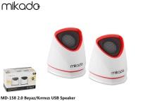 MIKADO MD-158 2.0 BEYAZ/KIRMIZI USB SPEAKER
