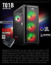 PowerBoost VK-T01B 650w 80+ USB3.0 4xRGB fan Mesh Panel kasa