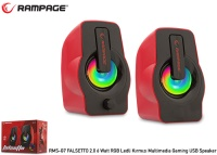 RAMPAGE RMS-G7 FALSETTO 2.0 6 Watt RGB Ledli Kırmızı Multimedia Gaming USB Speaker
