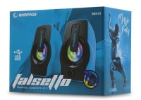 RAMPAGE RMS-G7 FALSETTO 2.0 6 Watt RGB Ledli Mavi Multimedia Gaming USB Speaker