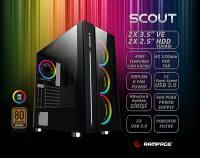 Rampage SCOUT Temper Camlı 600W 80 Plus Bronze Siyah 4*RGB Fan & Control Gaming Oyuncu Kasası