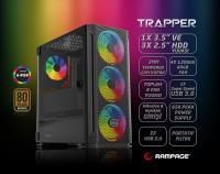 Rampage TRAPPER Temper Camlı 650Watt 80Plus Bronze Siyah 3*14cm + 1*12cm ARGB Fanlı Gaming Oyuncu Kasası