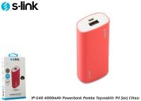 S-link IP-G40 4000mAh Powerbank Pembe Taşınabilir Pil Şarj Cihazı