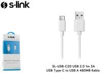 S-link SL-USB-C20 USB 2.0 1m 3A USB Type-C to USB A 480MB Kablo