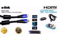 S-LINK SLX-250 HDMI TO HDMI 1.5mt Altın Uçlu 24K + Kor.Kılıf 1.4 Ver. 3D Kablo