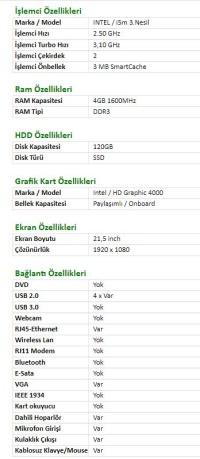 Turbox All In One Pc  i5m 3.Gen 4GB Ram 120GB SSD  SSD 21,5''