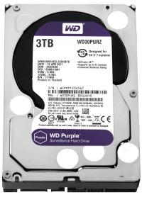 """WD 3TB Purple 3.5"""" 5400RPM 64MB SATA 3 7/24 Disk (WD30PURZ  7x24 Güvenlik Hard Diski  7/24"""
