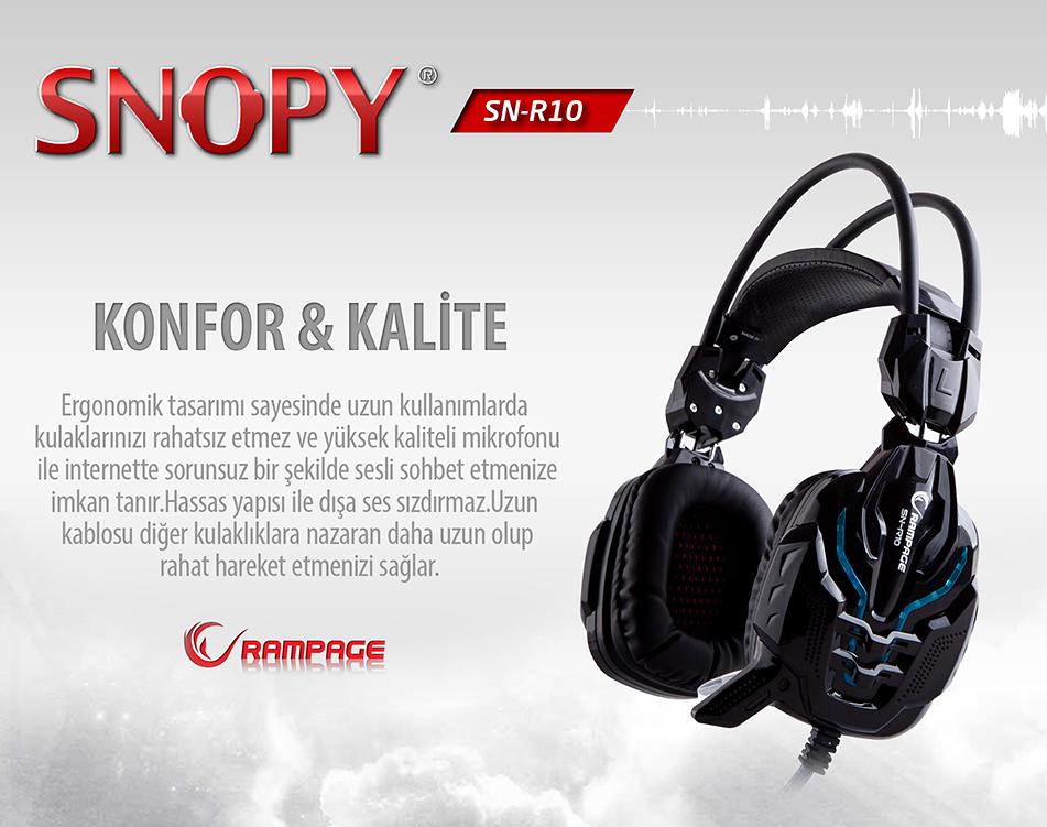SNOPY RAMPAGE SN-R10 2m Kablo Led Oyuncu Siyah Mikrofonlu