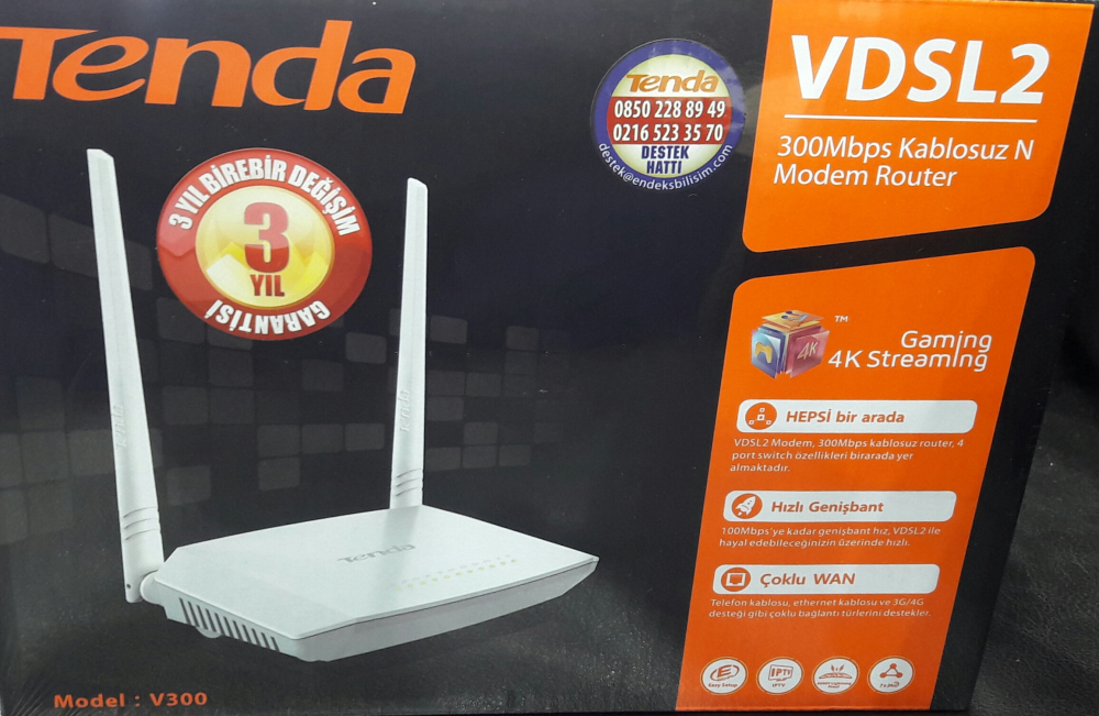 TENDA V300 4Port WiFi-N 300Mbps VDSL Modem